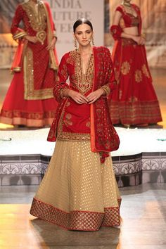 Just how pretty is this maroon red long kurti beige lehenga style from the collection Kamangari by Reynu Taandon #frugal2fab