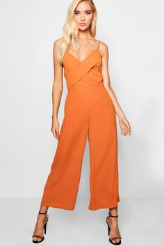 3f622db5561 Strappy Twist Detail Culotte Jumpsuit - boohoo