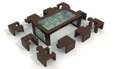 Puzzle Table and Chairs Scene - HQ -