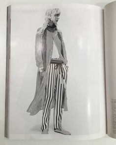 Babouches white and black striped Lina Audi for Liwan coton satiné Vogue Paris Mars 2016 photographer Christian MacDonald styliste Veronique Didry
