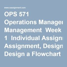 OPS 571 Operations Management  Week 1  Individual Assignment, Design a Flowchart for a Process  Discussion Questions 1 and 2  Week 2  Individual Assignment, Apply the Learning Curve Theory  Discussion Questions 1 and 2  Week 3  Individual Assignment, Bottlenecks in a Process  Discussion Questions 1 and 2  Week 4  Learning Team Assignment, Production Plan for Riordan Manufacturing  Discussion Questions 1 and 2  Week 5  Individual Assignment, Process Improvement Plan  Discussion Questions 1…