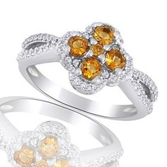 0.78 Ct Round Cut Citrine & Topaz 14K White Gold Over Cluster Ring by JewelryHub on Opensky