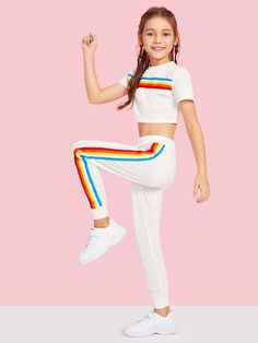 Girls crop rainbow striped tape top & sweatpants set cute girl outfits, cute outfits for Teenage Girl Outfits, Kids Outfits Girls, Dresses Kids Girl, Cute Girl Outfits, Cute Outfits For Kids, Cute Casual Outfits, Tween Clothes For Girls, Cute Clothes For Kids, Girls Sports Clothes