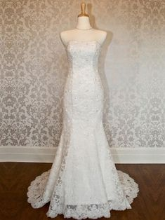 Trumpet/Mermaid Strapless Tulle Sweep Train with Appliques Lace Wedding Dresses #DGD00023021
