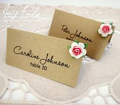 Eco, Retro, Paper Roses, Pink, Burlap, Country Chic, Wedding Place Name Cards by IrisPola, $1.15