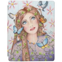 Woman Birds and Butterflies Gift Products iPad Cover