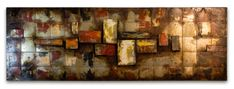 HAND CRAFTED 'ABSTRACT SQUARES' METAL WALL ART PANEL