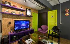 Sala Colorida: 60 Ideias e Fotos de Decoração Small Apartment Design, Small Apartments, Lofts, Living Room Home Theater, Industrial Chic, My Dream Home, House Design, Interior Design, Home Decor