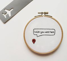 You Are Here Map Pin Embroidery Hoop Art