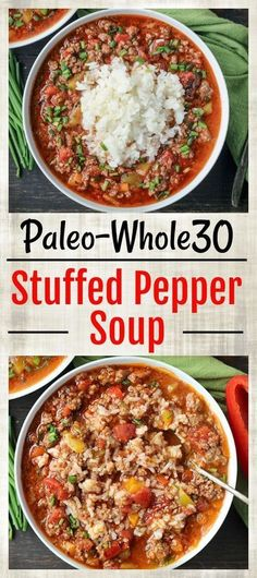 whole 30 recipes This Paleo Stuffed Pepper Soup is easy to make and so hearty. All the flavors of a stuffed pepper in soup form. Gluten free, dairy free, and low FODMAP. Made in the Instant Pot or on the stove top. Whole Foods, Paleo Whole 30, Whole 30 Soup, Whole 30 Meals, Whole Food Diet, Whole Food Recipes, Diet Recipes, Healthy Recipes, Recipes Dinner