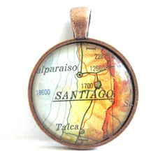 Santiago, Chile, Pendant from Vintage Map, in Glass Tile Circle. $10.00, via Etsy.