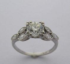 Feminine Platinum Antique Diamond Engagement Ring Circa 1925