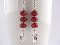 Red brown dangle earrings Leaf charm by MountainAshJewellery