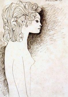 Pablo Picasso, La chevelure (Geneviève Laporte) - 1951 on ArtStack #pablo-picasso #art