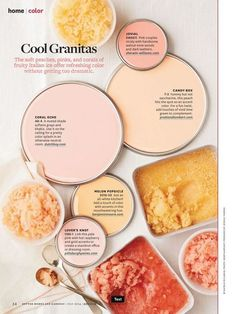 cool You HAVE to take a peek at these soft hues! They are as refreshing as their Italian ice dessert namesake. CONTINUE READING Shared by: bhg Coral Paint Colors, Wall Colors, House Colors, Accent Colors, Colour Schemes, Color Trends, Color Combos, Decoration Inspiration, Color Inspiration