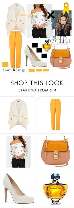 """""""Rose gal <3"""" by david111 ❤ liked on Polyvore featuring Burberry, Topshop, Chloé, Jessica Simpson, Guerlain and Hermès"""