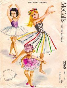 1959 - Girls Dance costume ballet McCalls 2360 Size 12 uncut sewing pattern (via Etsy) Vintage Dance, Vintage Ballet, Vintage Girls, Vintage Children, Dance Costumes Ballet, Ballerina Costume, Vintage Dress Patterns, Vintage Dresses, Vintage Outfits