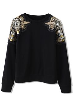 Crystal Beads Embellished Shoulder Sweat Top - Retro, Indie and Unique Fashion