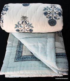 Indian Handmade Kantha Work Quilt Cotton Soft Lightweight Winter ... : filling for quilts - Adamdwight.com