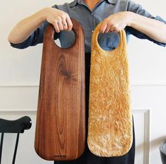 gorgeous cutting board by Geoffrey Lilge. I doesn't hurt that it stands nexts to a bread in the same shape.