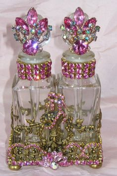 Antique Perfume Bottles Set In Basket Pink From The Collection  By Debbie Del Rosario-Weiss, Juliana,brush, comb, vintage, Clock,tray, mirror, perfume, antique, vintage, victorian, Sparkle,