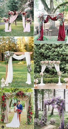 Wedding Ideas On A Budget wedding arch and altar decoration ideas for fall 2018 and 2019 - Rock a gorgeous floral wedding arch for your fall wedding! decorate your arch with the blooms in the colors of your wedding: deep red, burgundy,. Fall Wedding Arches, Wedding Arch Rustic, Wedding Ceremony Arch, Outdoor Wedding Decorations, Fall Wedding Colors, Wedding Centerpieces, Floral Wedding, Wedding Ideas, Wedding Pergola