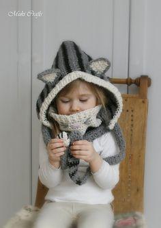 CROCHET PATTERN cat hood and cowl set Misty baby от MukiCrafts