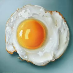 Tjalf Sparnaay painting: fried egg - 40 x 40 cm