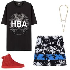 Hood By Air Sundial T-shirt, $115; vfiles.com; Givenchy Shark Tooth necklace, $875; tessabit.com; Alexander Wang shorts, $202; thecorner.com; Rip-Offs Type One sneakers, $475; barneys.com