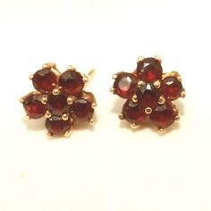 "14k Gold Pidgeon Blood Red Vintage Garnet Cluster Earrings, Posts.  See these gorgeous Garnet post earrings for sale at the ""Vintage Jewelry Stars"" shop at http://www.rubylane.com/shop/vintagejewelrystars!!"