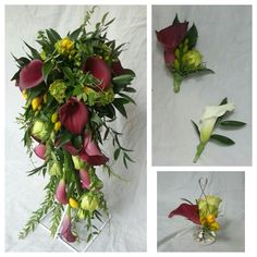 Watervalboeket met rode calla, gele freesia en groene rozen. Bijpassende corsages en vaasje voor tafelschikking.
