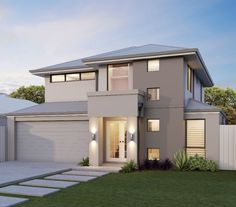 The Milano Metro Double storey home by Great Living Homes is a balance between modern design & innovation, ideal for family living in Mandurah & Perth House Paint Exterior, Dream House Exterior, Exterior House Colors, Dream House Plans, Exterior Design, House Design 3d, 2 Storey House Design, House Front Design, Architectural House Plans