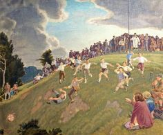 'Cheese Rolling on Cooper's Hill, Gloucestershire' by Charles March Gere, 1948