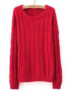 Euro Style Red Cloting Ladies Long Sleeve Round Neck Slim Knitting Sweater One Size @ Red Sweaters, Cable Knit Sweaters, Pullover Sweaters, Sweaters For Women, Cute Fashion, Vintage Fashion, Long Sleeve Sweater, What To Wear, My Style