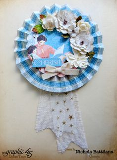 """Cherish"" Mother's Day Precious Memories rosette from Nichola #graphic45"