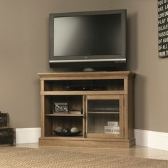 """OR -- should we get a TALLER cabinet, to store & display more things?  ----- See what K has and if it overwhelms the room ---- $249 - """"Barrister 43"""" Media Console in Salt Oak"""" - Joss & Main"""