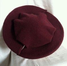 789b4d28325fb Items similar to Burgundy Brown Wool Tellerbarret Barret Renaissance Hat on  Etsy