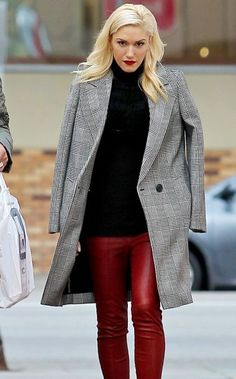 Gwen Stefani in Red Leather Pants and a neutral palette to keep it tame. I love it!