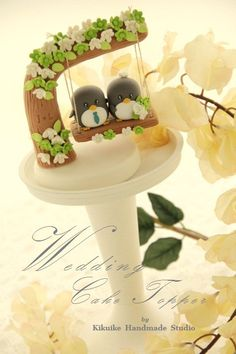 Handmade penguin with swing Wedding Cake Topper by kikuike