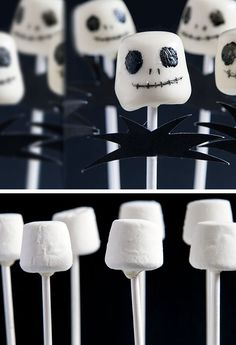 Jack Skellington Marshmallow Pops | 40 Halloween Party Food Ideas for Kids | Easy Halloween Treats for Kids