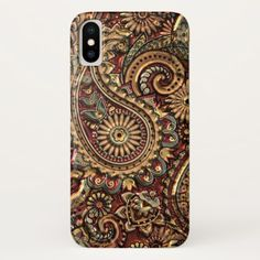 Chic Vintage Faux Gold Paisley Floral Pattern iPhone X Case - gold gifts golden customize diy