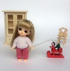 Miniature bjd doll clothes  white sweater and trousers Lati