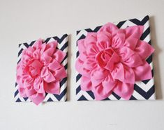 "TWO Wall Flowers -Pink Dahlia on Navy and White Chevron 12 x12"" Canvas Wall Art- 3D Felt Flower"