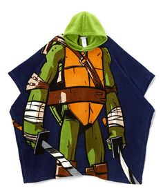 Love this Blue & Green TMNT Plush Hooded Poncho - Boys on #zulily! #zulilyfinds