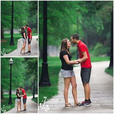 Ohio State University Engagement Photography- Emerald Anchor Photography OSU Campus in the rain