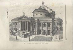 PALERMO TEATRO MASSIMO O TEATRO VITTORIO EMANULE litografia originale 112 anni