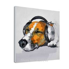 Wearing headphones dog pop art modern abstract canva Oil painting to painting the living room wall painting decorative wallpaper Dog Pop Art, Dog Art, Cheap Paintings, Dog Paintings, Room Wall Painting, Canvas Wall Art, Abstract Animal Art, Oil Painting Abstract, Painting Tips