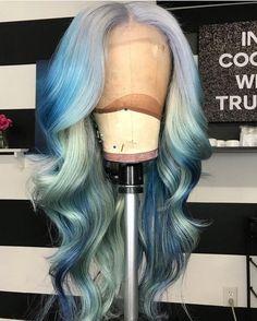 #hairofinstagram #wiginstall #fulllacewig #bluehair #frontalsewin #lacefrontal #hairpost #hairinspo #hairgoals #haircolo #WeaveHairstylesBraids Short Blue Hair, Long Wavy Hair, Curly Hair, Frizzy Hair, Hair Colorful, Light Blonde Hair, Blonde Ends, Blonde Wig, Dark Blonde