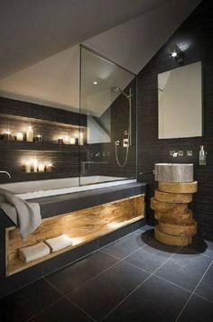 baño moderno con madera