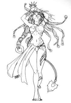 famous art coloring pages for adults - Yahoo Image Search Results Shiva Final Fantasy, Final Fantasy Tattoo, Coloring Pages To Print, Coloring Book Pages, Famous Art, Fantasy Women, Copics, Up Girl, Pattern Art